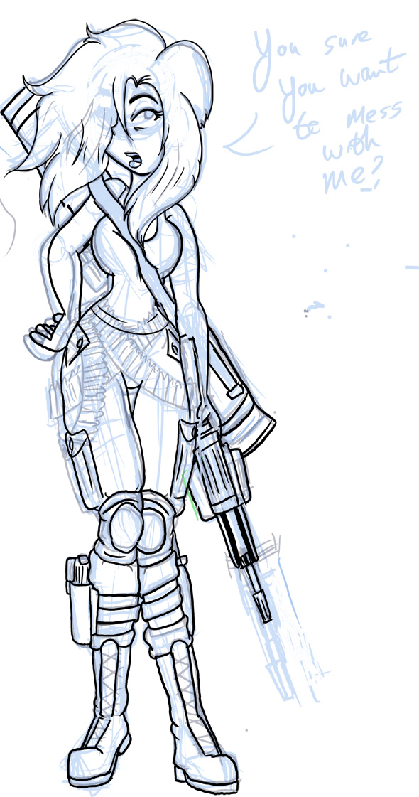 Filler : Gun Girl 2 Sketch